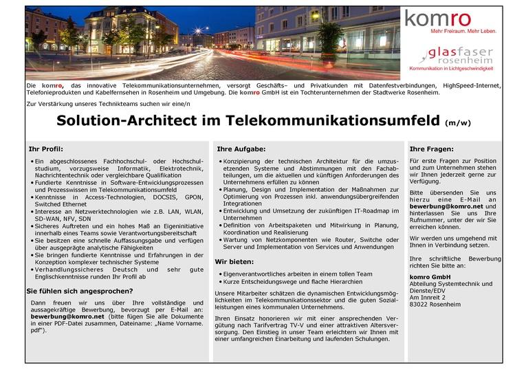 Solution-Architekt im Telekommunikationsumfeld (m/w)