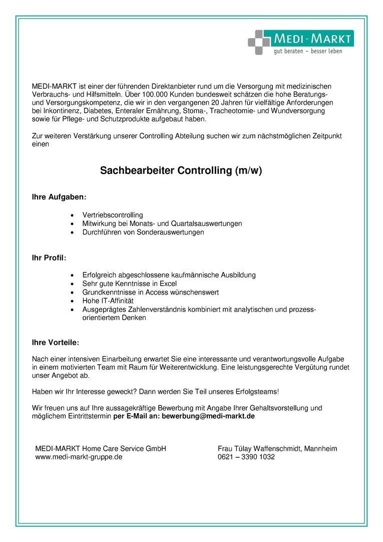Sachbearbeiter Controlling (m/w)