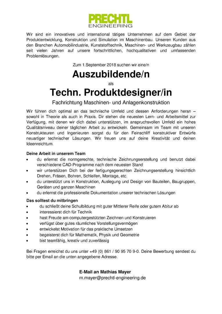 Auszubildende/n als Techn. Produktdesigner/in - Fachrichtung Maschinen- und Anlagenkonstruktion