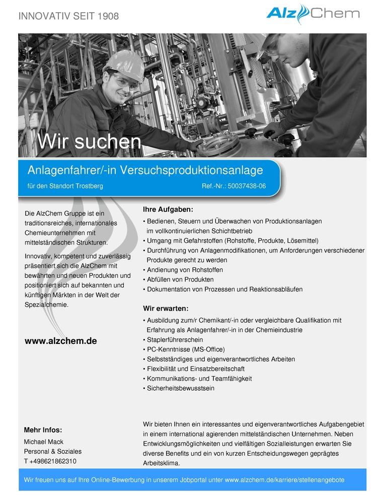 Anlagenfahrer/-in Versuchsproduktionsanlage