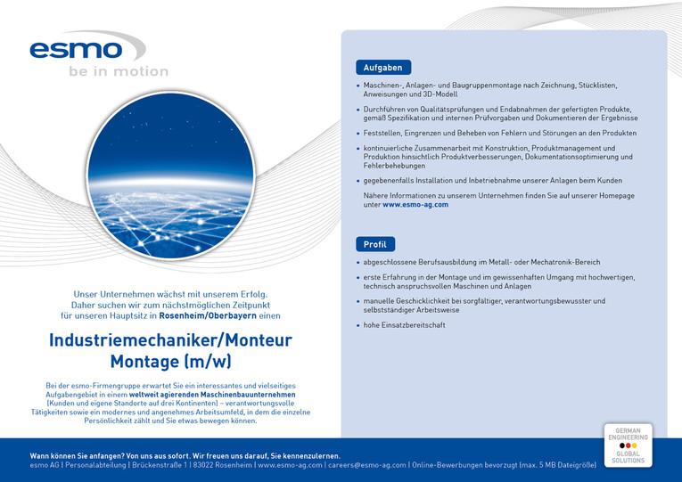 Industriemechaniker/Monteur Montage (m/w)