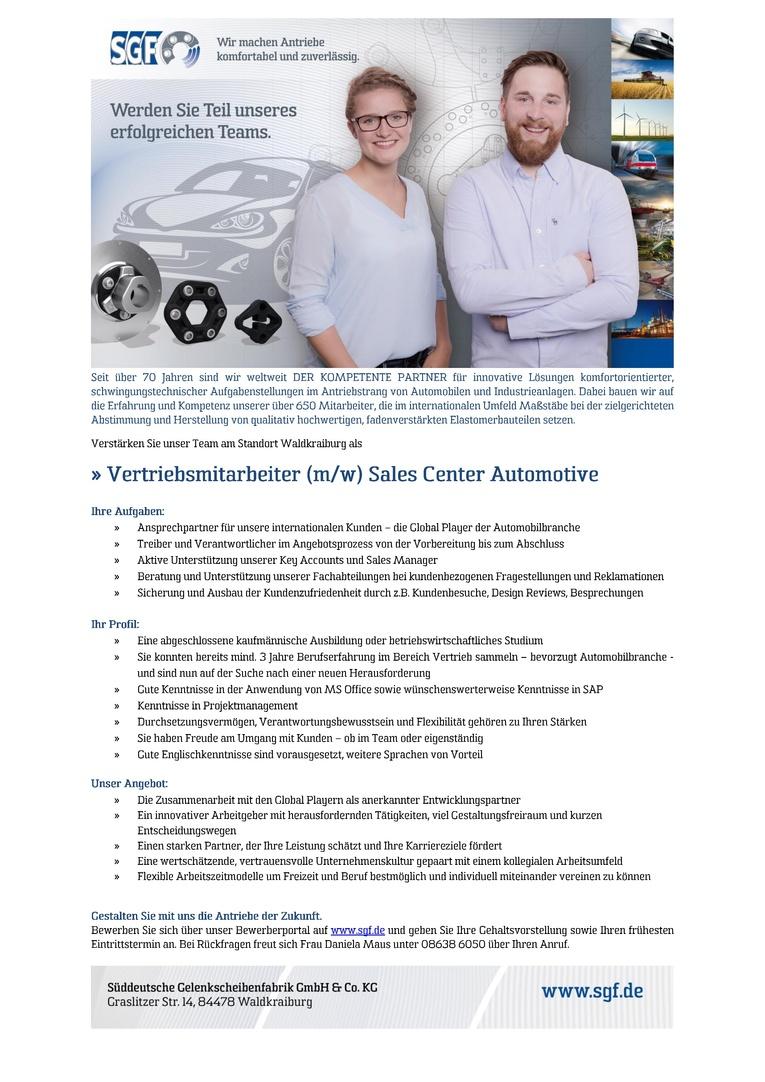 Vertriebsmitarbeiter (m/w) Sales Center Automotive