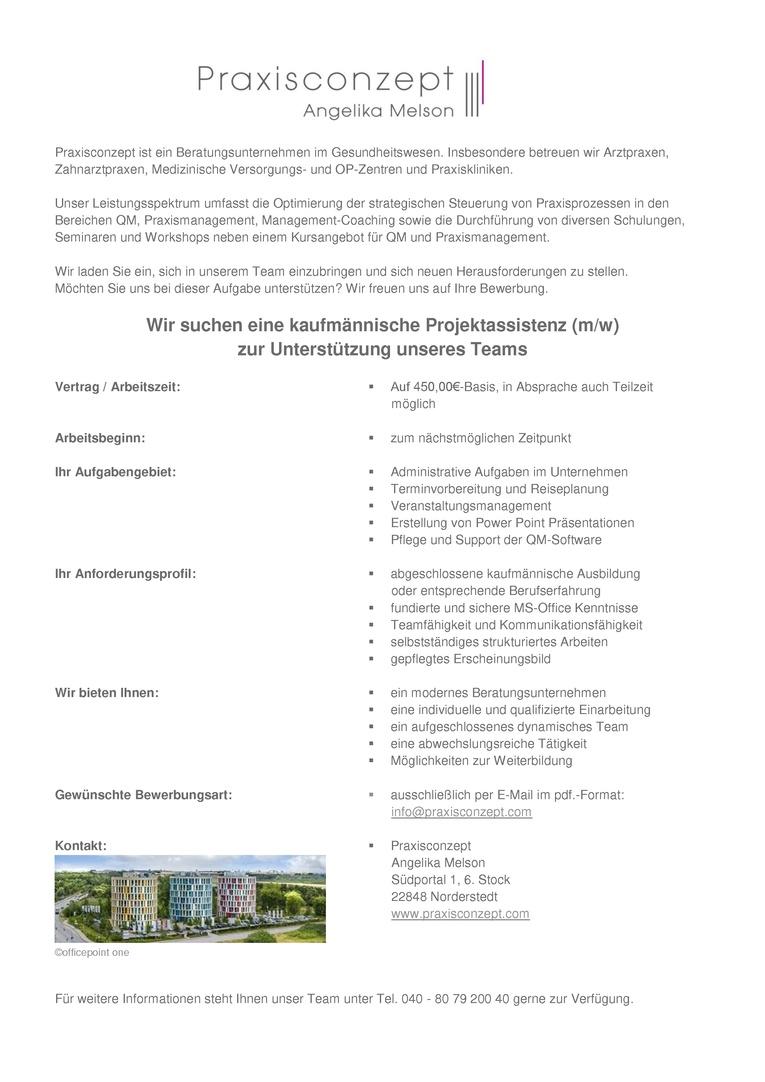 Kaufmännische Projektassistenz (m/w) auf 450,00€-Basis, in Absprache auch Teilzeit möglich