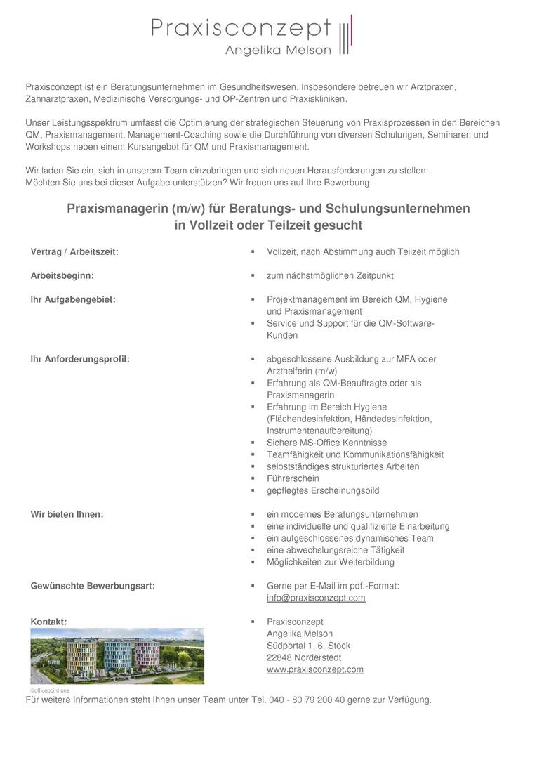 Praxismanagerin (m/w) für Beratungs- und Schulungsunternehmen in Vollzeit oder Teilzeit