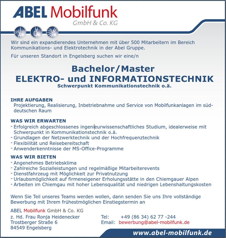 Bachelor/Master ELEKTRO- und INFORMATIONSTECHNIK - Schwerpunkt Kommunikationstechnik o.ä.