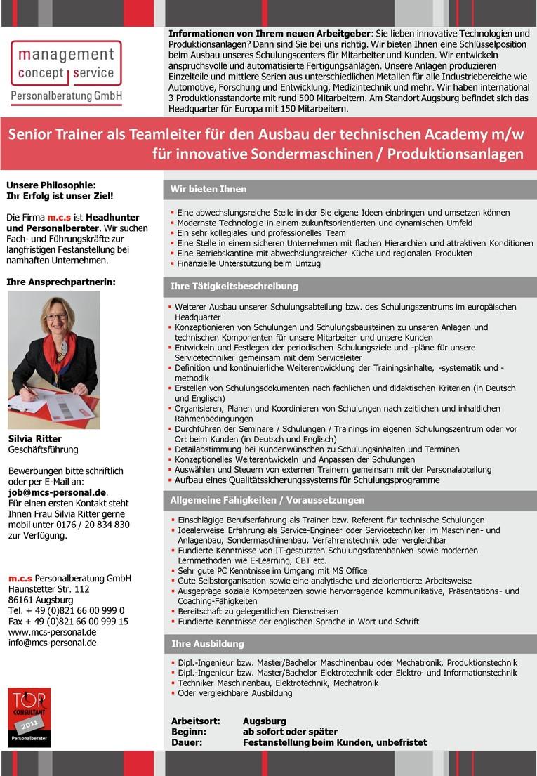Senior Trainer als Teamleiter für den Ausbau der technischen Academy m/w für innovative Sondermaschinen / Produktionsanlagen
