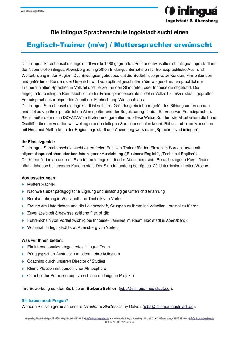Die inlingua Sprachenschule Ingolstadt sucht einen Englisch-Trainer (m/w) / Muttersprachler erwünscht
