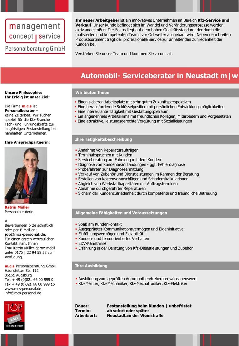 Automobil- Serviceberater in Neustadt m w