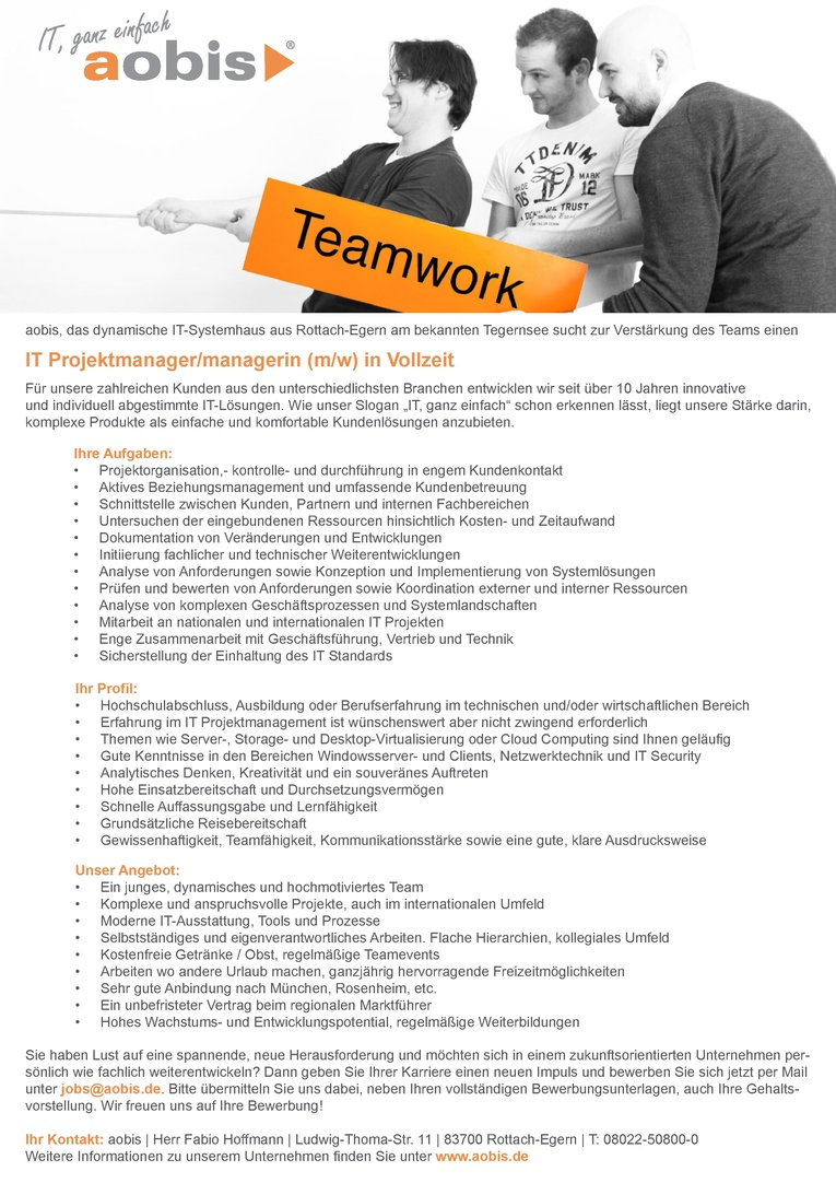 IT Projektmanager/managerin (m/w) in Vollzeit