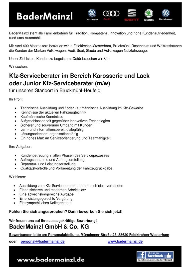 Kfz-Serviceberater / Kfz-Serviceberaterin im Bereich Karosserie und Lack oder Junior Kfz-Serviceberater / Junior Kfz-Serviceberaterin