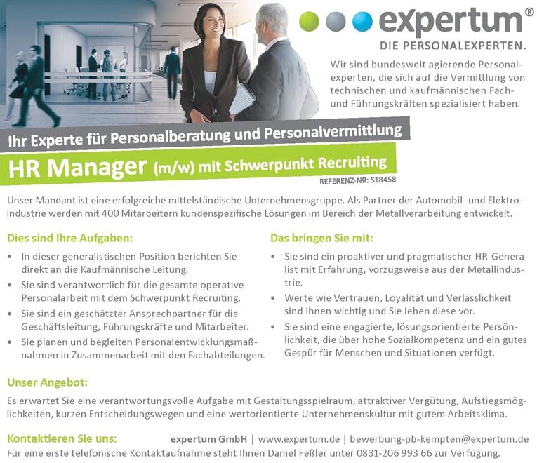 HR Manager (m/w) mit Schwerpunkt Recruiting