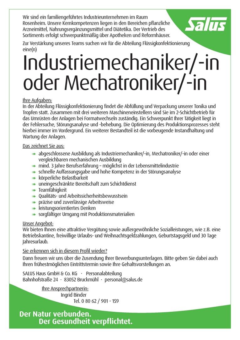 Industriemechaniker/ -in oder Mechatroniker/-in