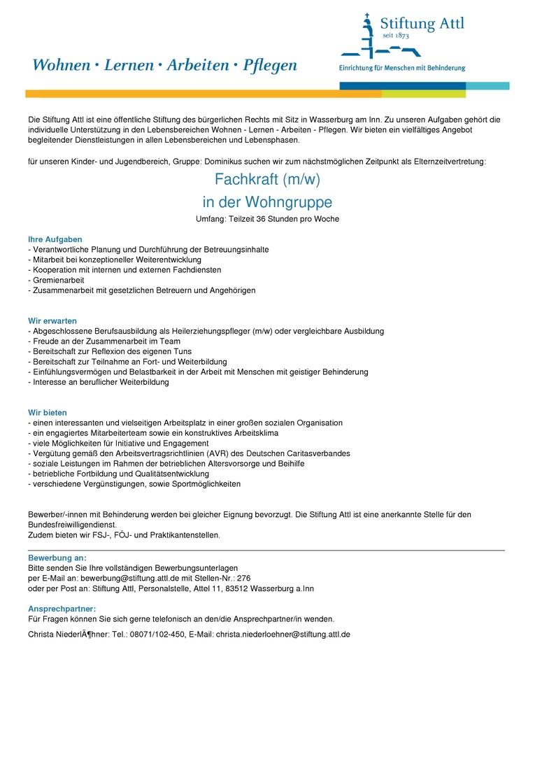 Fachkraft in der Wohngruppe (m/w) in Teilzeit 36,0 Stunden, Elternzeitvertretung- Stellen-Nr. 276