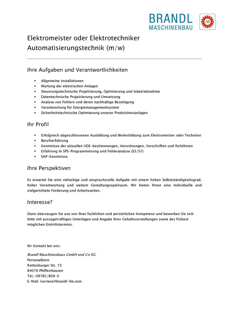 Elektromeister, Elektriker oder Elektrotechniker Automatisierungstechnik (m/w)