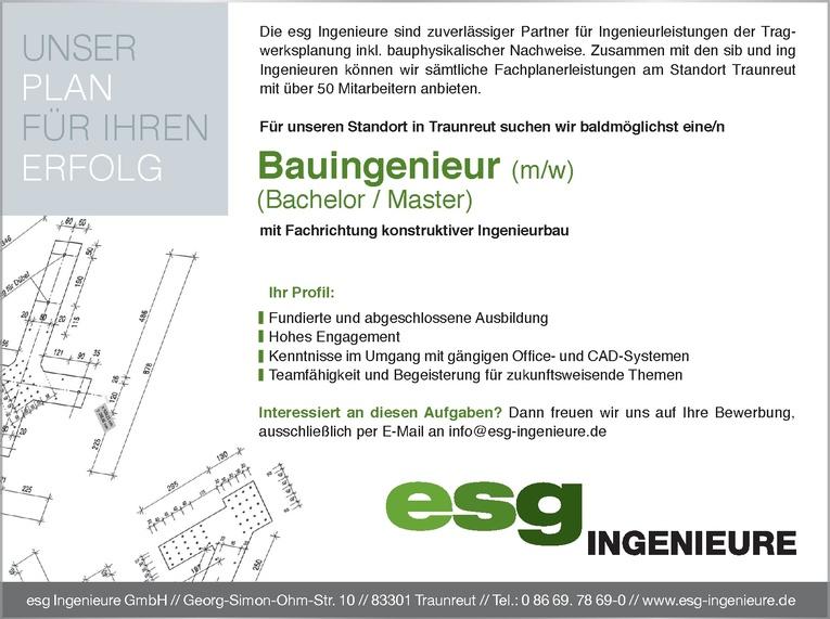 Bauingenieur (m/w) mit Fachrichtung konstruktiver Ingenieurbau