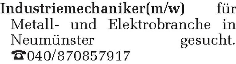 Industriemechaniker(m/w)