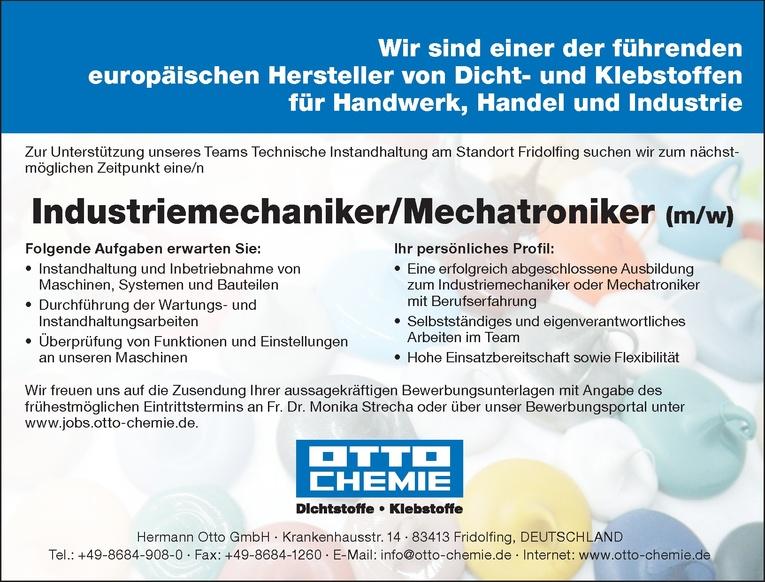 Industriemechaniker/Mechatroniker (m/w)