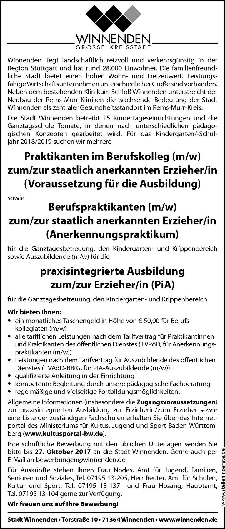 praxisintegrierte Ausbildung zum/zur Erzieher/in (PiA)