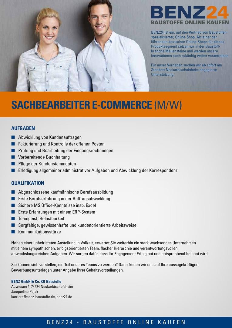 Sachbearbeiter/in - Kundenservice / E-Commerce