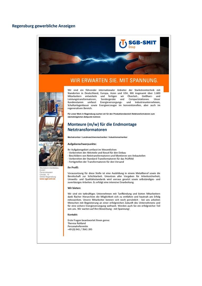 Monteure (m/w) für die Endmontage Netztransformatoren