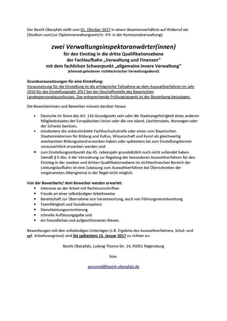 """Duales Studium beim Bezirk Oberpfalz als Verwaltungsinspektoranwärter/in, Einstieg in die dritte Qualifikationsebene der Beamtenlaufbahn, Schwerpunkt """"allgemeine innere Verwaltung"""""""