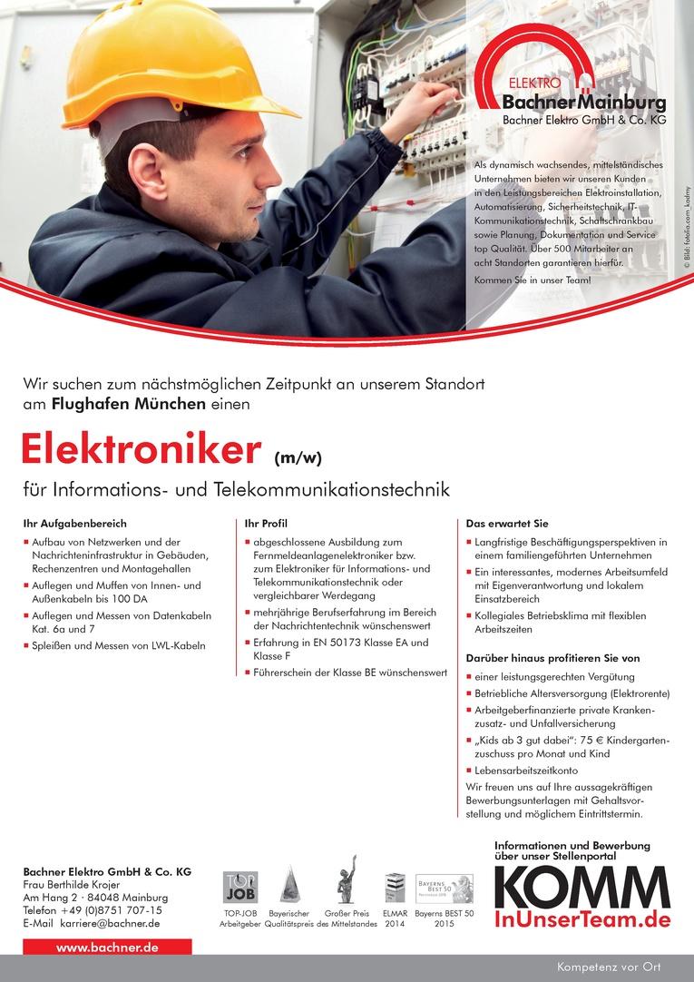 Elektroniker für Informations- und Telekommunikationstechnik (m/w) am Flughafen München