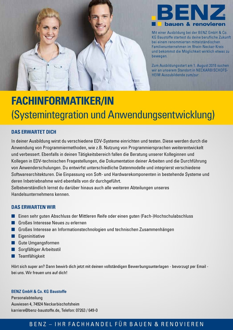 Ausbildung: Fachinformatiker/in (Systemintegration und Anwendungsentwicklung)