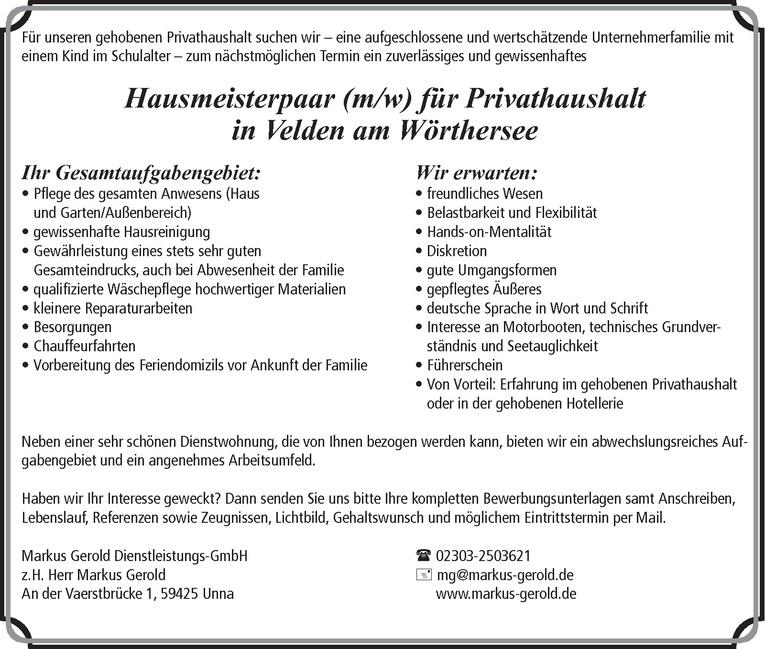 Job: Hausmeisterpaar (m/w)