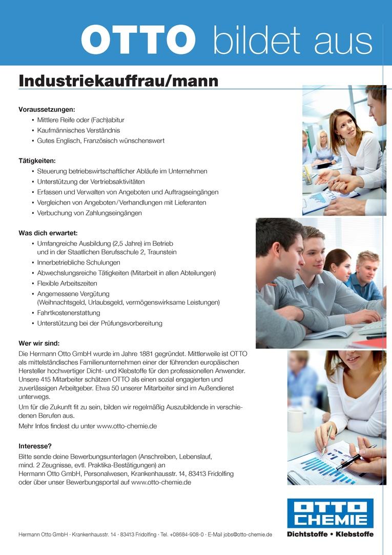 Ausbildung zum Industriekaufmann (m/w)  zum 1. September 2018