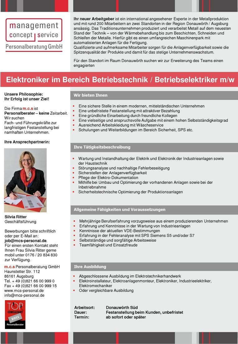 Elektroniker im Bereich Betriebstechnik / Betriebselektriker m/w