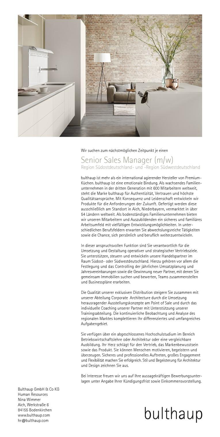 Senior Sales Manager - Region Südost-/Südwestdeutschland (m/w)