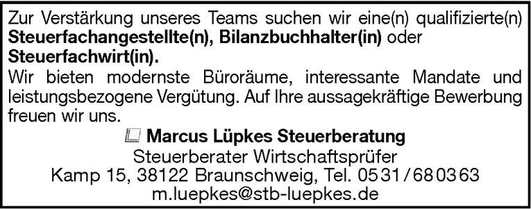 Steuerfachangestellte(r) / Bilanzbuchhalter(in) / Steuerfachwirt(in).