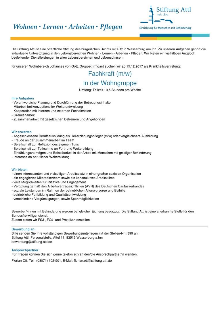 Fachkraft in der Wohngruppe (m/w) in Teilzeit 19,50 Stunden, befristet  - Stellen-Nr. 399