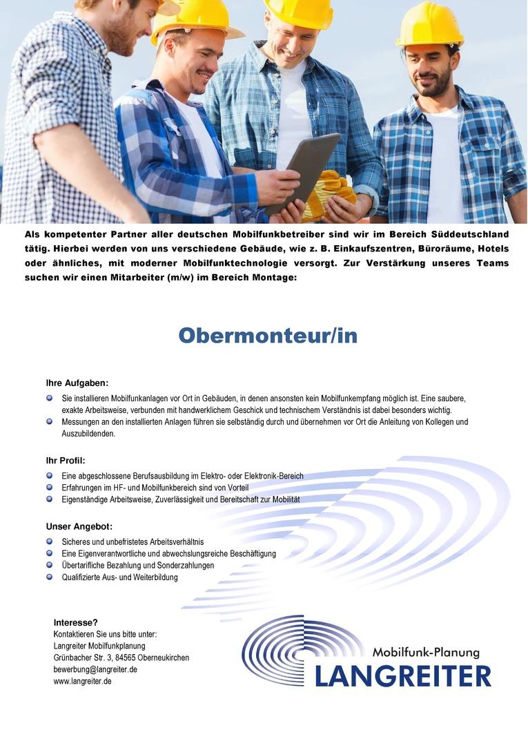 Obermonteur/in