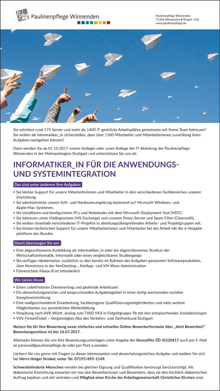 INFORMATIKER_IN FÜR DIE ANWENDUNGS-UND SYSTEMINTEGRATION