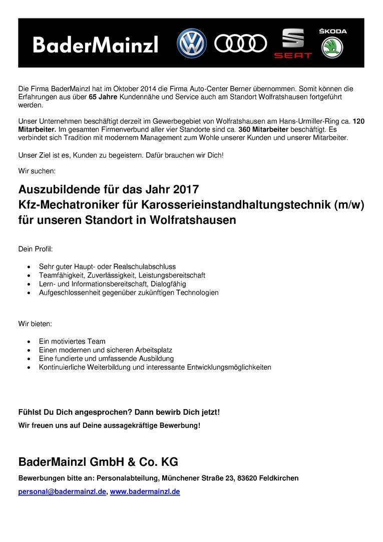 Auszubildende 2017 - Kfz-Mechatroniker / Mechatronikerin für Karosserieinstandhaltungstechnik