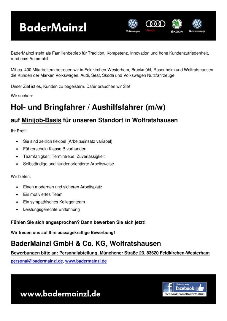 Hol- und Bringfahrer / Aushilfsfahrer (m/w)