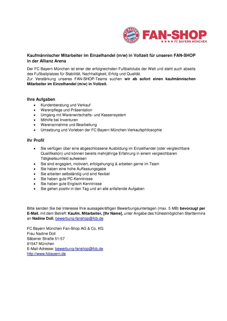 Verkaufsmitarbeiter (m/w) in Vollzeit - Megastore Allianz Arena