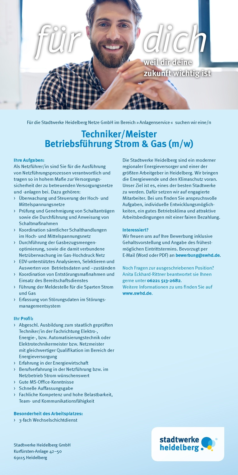Techniker/Meister Betriebsführung Strom & Gas (m/w)