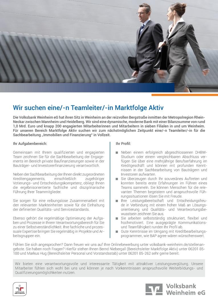 Teamleiter/in Sachbearbeitung Immobilien & Finanzierungen
