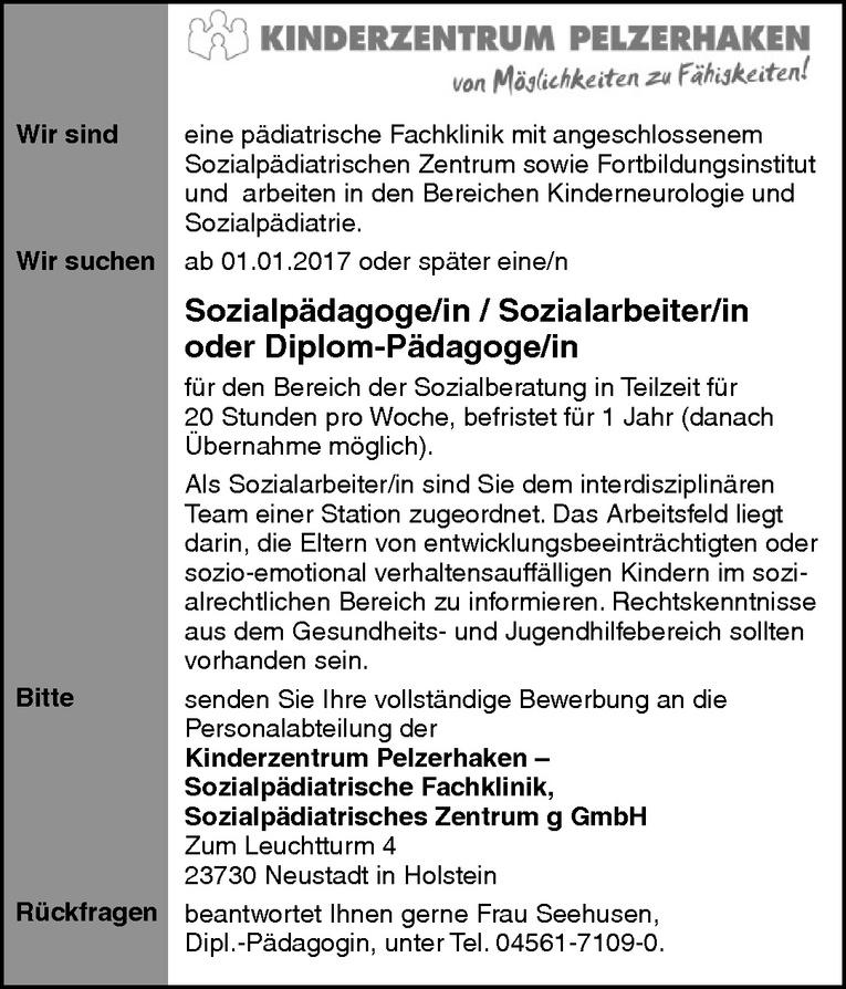 Sozialpädagoge/in / Sozialarbeiter/in oder Diplom-Pädagoge/in
