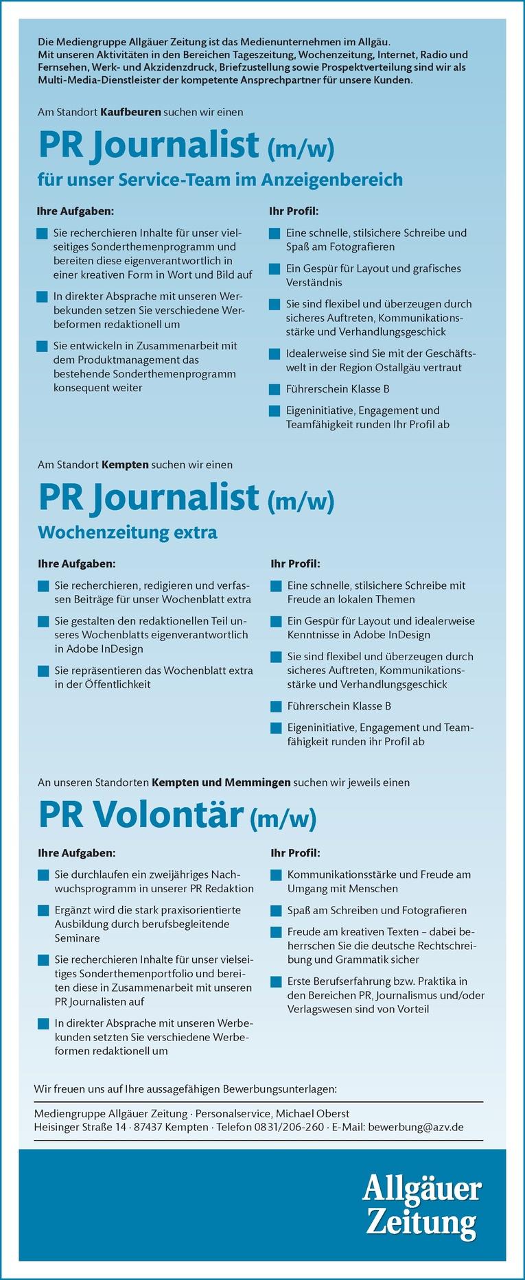 PR Journalist (m/w) für unser Service-Team im Anzeigenbereich