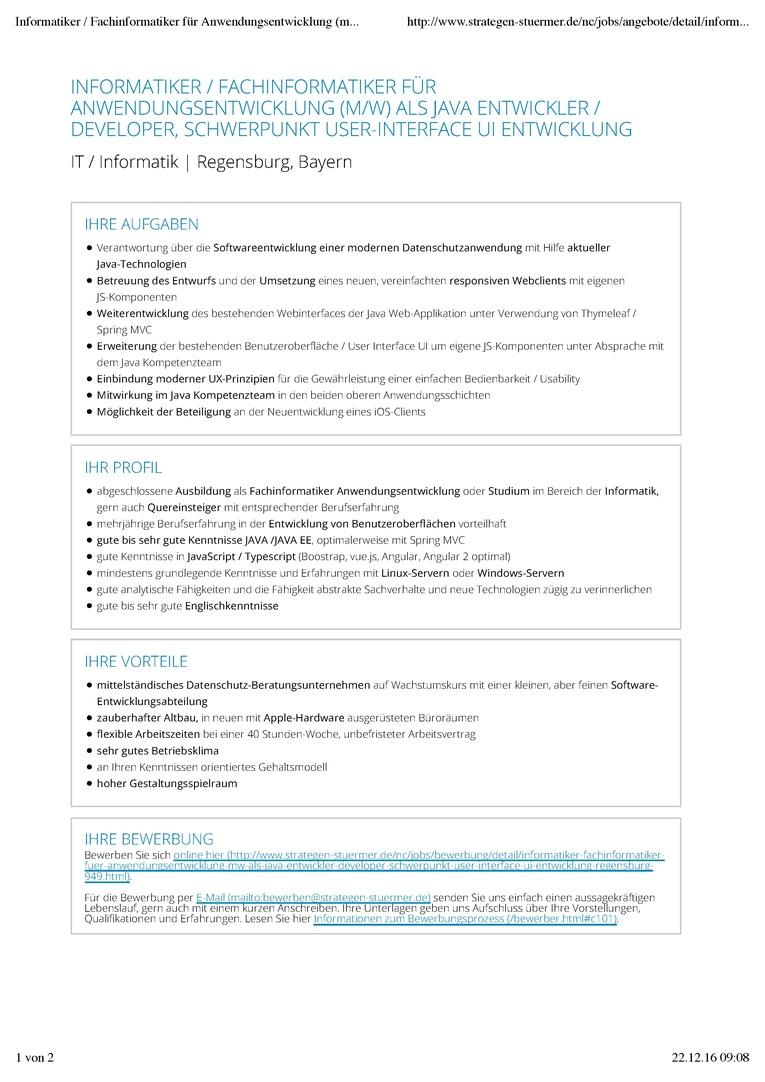 JAVA Entwickler / Informatiker / Fachinformatiker Anwendungsentwicklung (m/w) Softwareentwicklung mit Schwerpunkt User-Interface UI Entwicklung