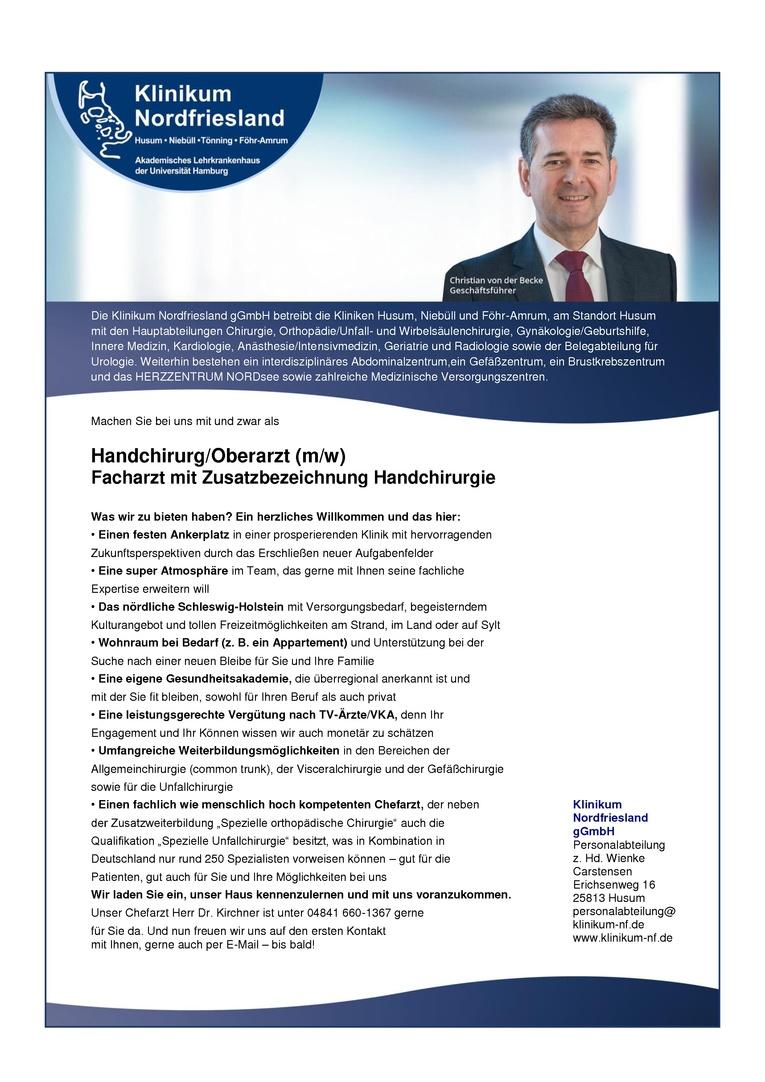 Handchirurg/Oberarzt (m/w)