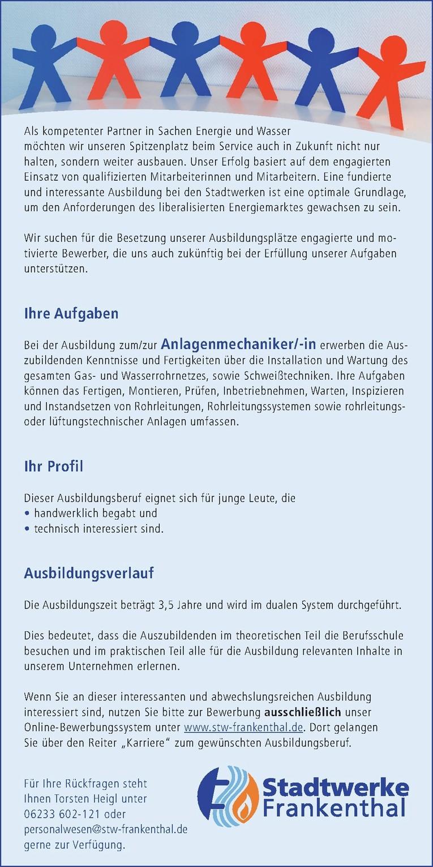 AZUBI Anlagenmechaniker/-in 2018