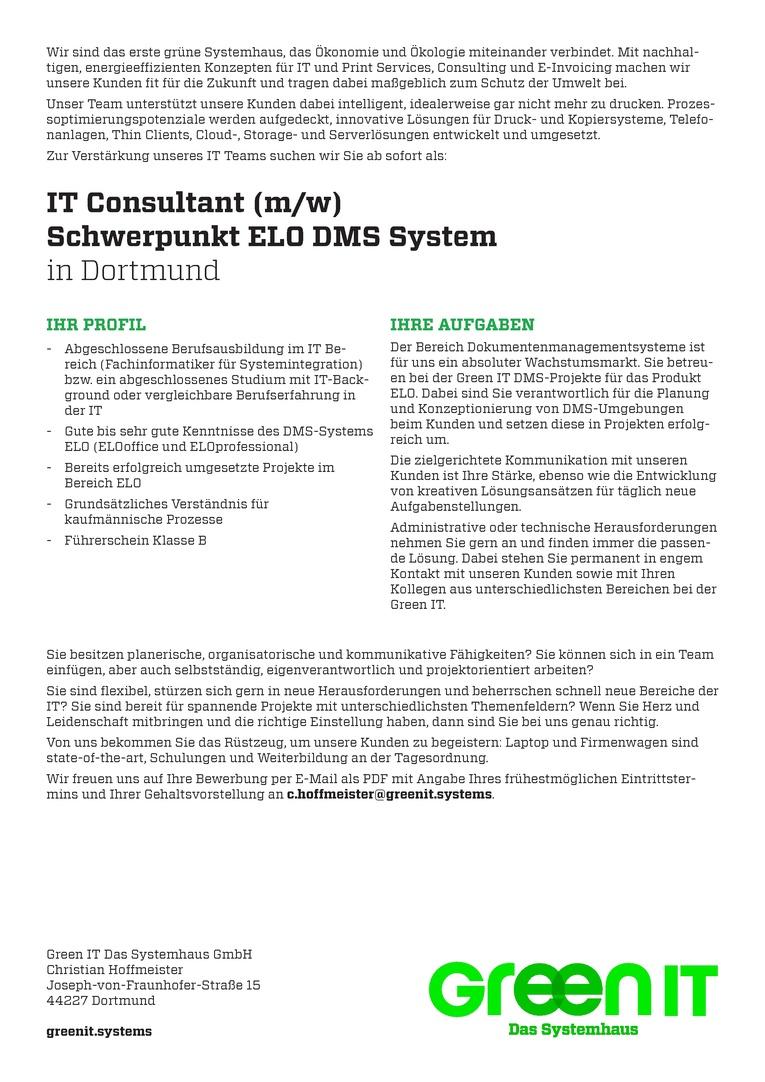 IT Consultant mit Schwerpunkt ELO DMS System (m/w)