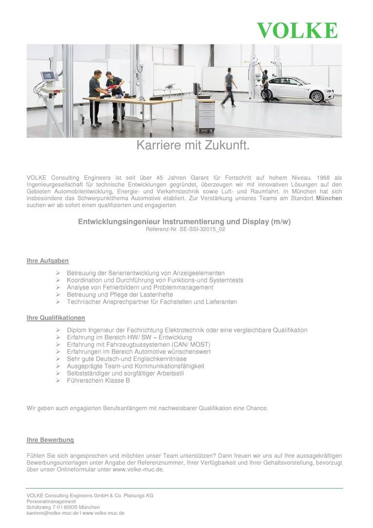 Entwicklungsingenieur Instrumentierung und Display (m/w)