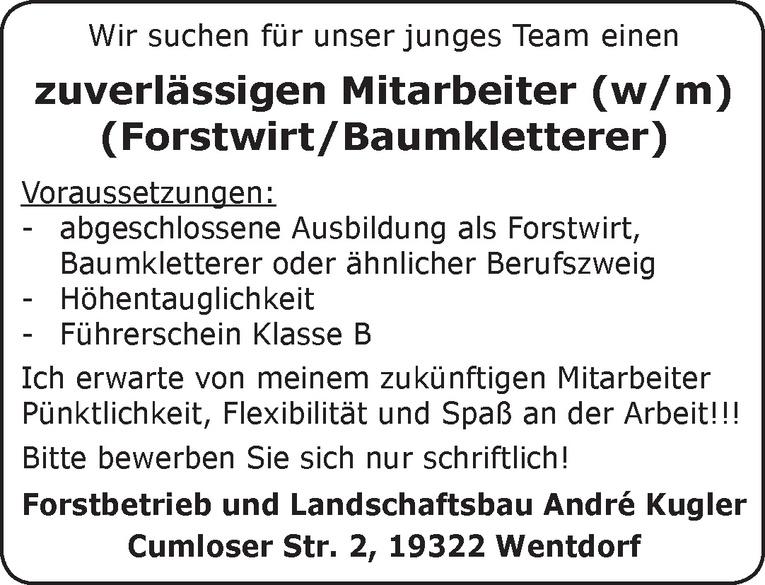 Mitarbeiter (w/m) Forstwirt/Baumkletterer