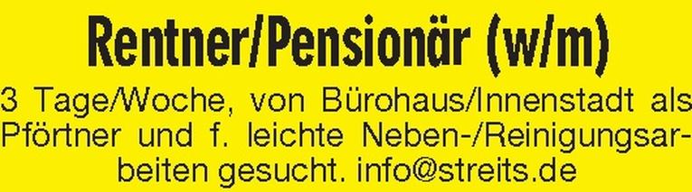 Rentner / Pensionär (w/m)
