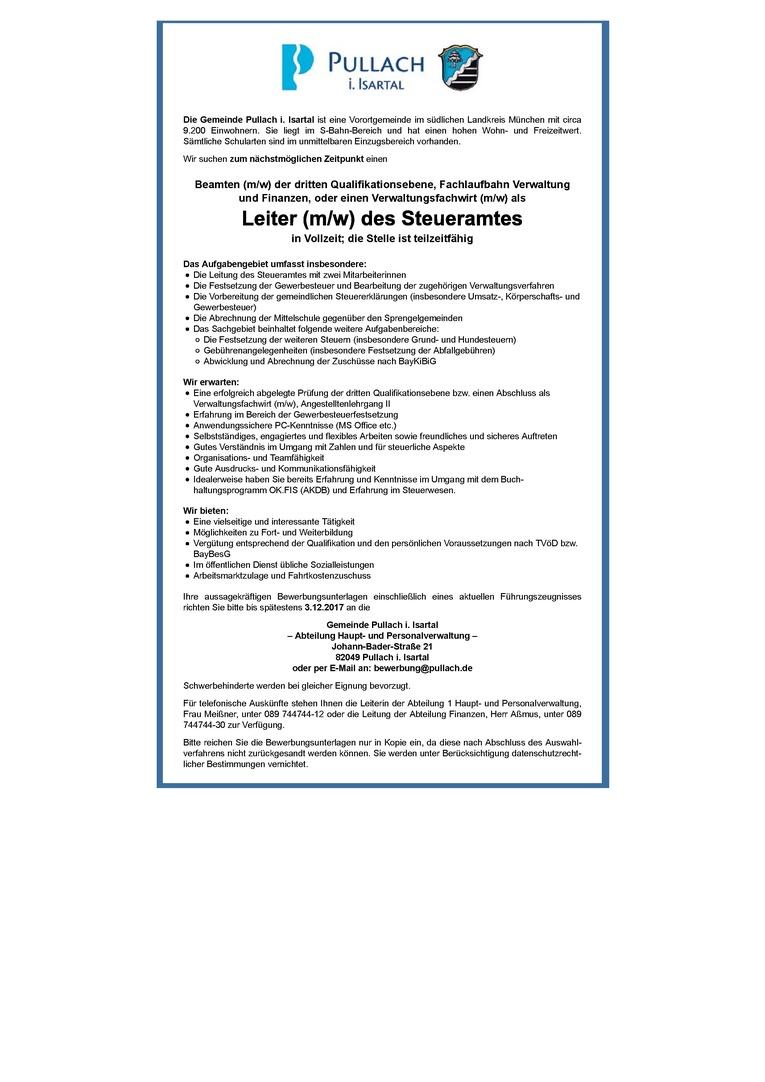 Beamter (m/w) 3. QE als Leitung des Steueramtes